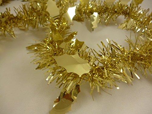 Decorazione albero di Natale 2 Metri oro Tinsel di Natale con agrifoglio