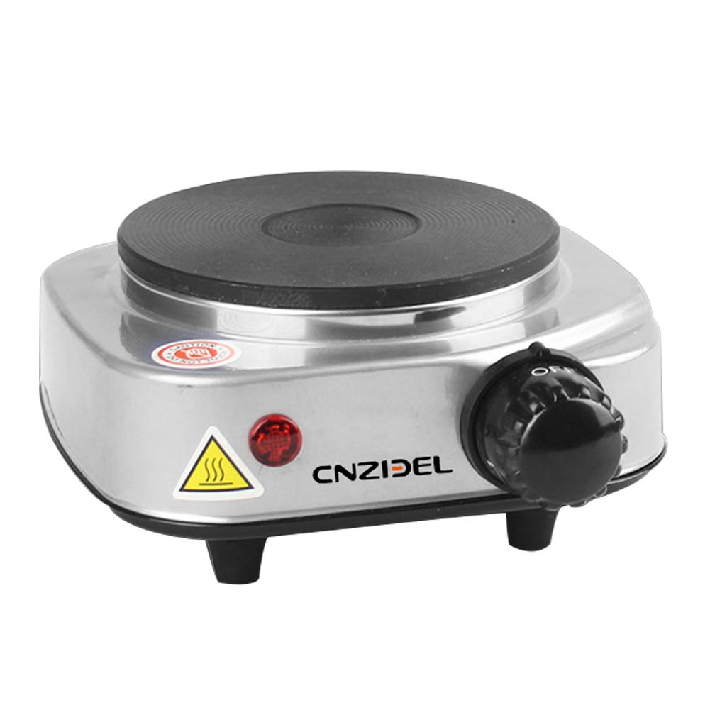 Mini Electric Burner Single Countertop Flat Cast Heating Plate with Temperature Control Non-Slip Portable Stove