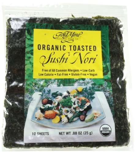 Gold Mine Organic Toasted Sushi Nori, 10 Sheet, 0.88 - Sushi Toasted Seaweed