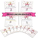 MORDUN 24 Unicorn Party Favors Set for Girls Birthday - Unicorn Charm Wish Bracelets - Gifts for...