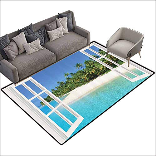 Floor Mat Entrance Doormat Ocean Decor,Paradise Island Palm Tree Seaside Theme in Beach Pictures Art Modern,Ocean Design Blue Green Aqua White 60