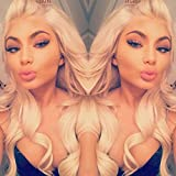 ZigZag Hair Blonde #613 360 Lace Frontal Wig Brazilian Virgin Human Hair Wigs For Black Women 180% Density 360 Lace Wig Pre Plucked Full Lace Wig With Baby Hair (14inch, Body Wave)