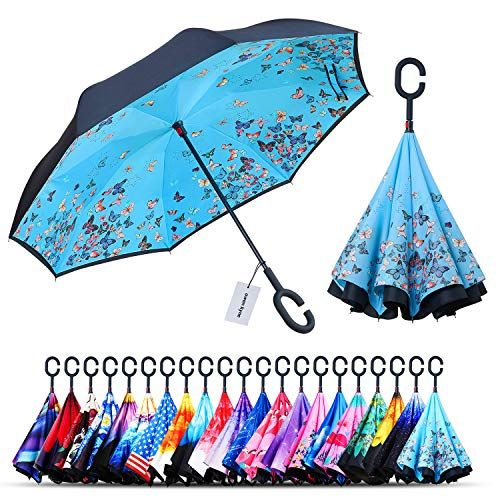 Owen Kyne Windproof Double Layer Folding Inverted Umbrella, Self Stand Upside-Down Rain Protection Car Reverse Umbrellas with C-Shaped Handle (Blue Butterfly)