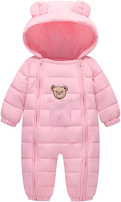 Infant Baby Hooded Snowsuit Winter Puffer Jacket Long Sleeves Thick Rompers Outwear Coat
