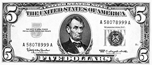 Posterazzi GLP469052LARGE Poster Print Collection Five Dollar Bill./President Abraham Lincoln On The Front Of A U.S Five Dollar Note 1963. Poster Print By, (24 X 36), Multicolored (Abraham Lincoln On The Five Dollar Bill)