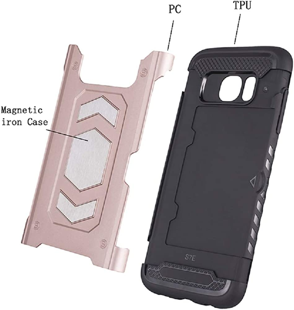 Mepy Kompatibel mit Samsung Galaxy S7 Edge H/ülle Handyh/ülle mit Kartenfach und Magnetplatte 2 in 1 Flexibel TPU Edge Harte PC f/ür Samsung Galaxy S7 Schutzh/ülle Case f/ür Magnetische Halterung
