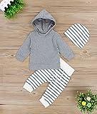 Newborn Baby Boys Girls Grey Hoodie Sweatshirt Top