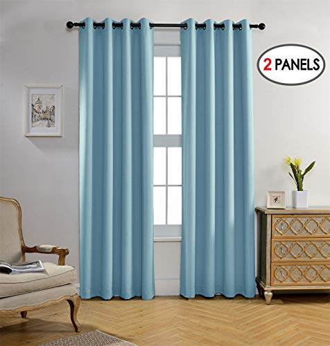 Miuco Blackout Curtains Room Darkening Curtains Textured Grommet Panels Living Room 2 Panels 52x84 Inch Long Sky -