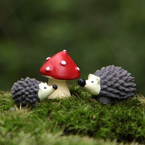 dezirZJjx Mini Micro Landscape,3Pcs/Set Garden Moss Resin Crafts Artificial Mini Hedgehog Red Dot Mushroom- Best Indoor Outdoor Decorations for Patio Yard Office and House