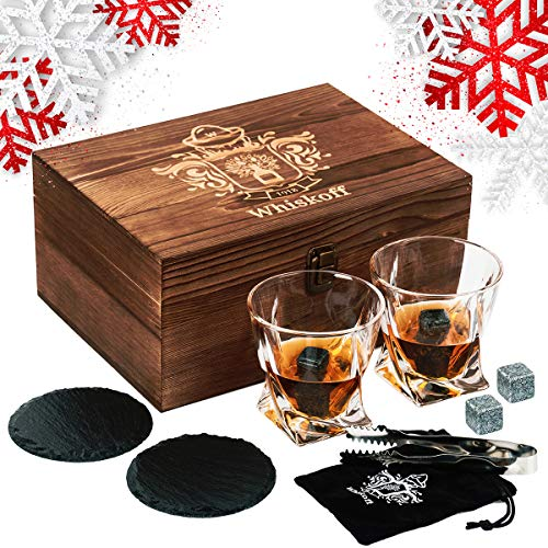 Whiskey Glass Set of 2 - Bourbon Whiskey Stones Gift Set - Twist Scotch Rocks Tongs, Coasters, Chilling Stones & Bar Glasses - Drinking Glasses for Men & Woman - Whiskey Glassware in Wooden Gift Box (Set Glasses Rocks)