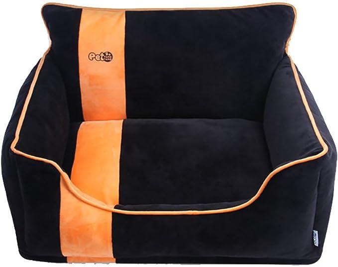 Diki Home ペット用ベッド ペットクッション 犬用 猫用 水晶の絨 可愛い 暖かい 犬 猫 もこもこ ソファ ペット ぐっすり眠れる 犬猫 兼用 (50cm×42cm×32cm, ブラック)