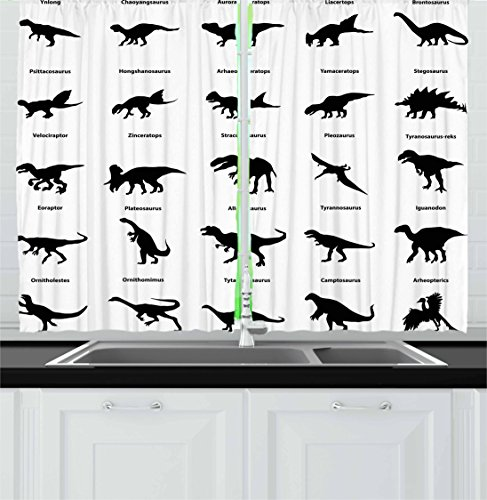 Ambesonne Dinosaur Kitchen Curtains, Collection of Different Dinosaurs Silhouettes with Their Names Evolution Wildlife, Window Drapes 2 Panel Set for Kitchen Cafe, 55 W X 39 L Inches, Black White Review