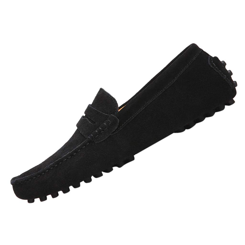Men's Penny Loafers Moccasin Driving Shoes Casual Suede Slip On Breathable Trainer Shoes Flats Boat Shoes Size 6.5-11.5 (US:6.5, Black)
