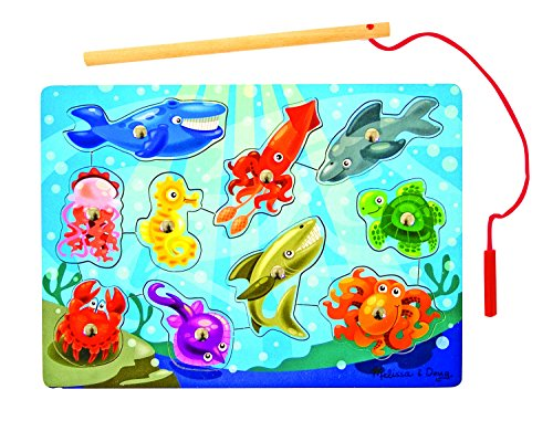Melissa & Doug Magnetic Wooden Fishing Puzzle Game with 10 Ocean Animal Magnets and Pole