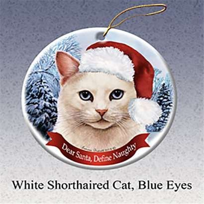 (Holiday Gift White Shorthair Cat, Blue Eyes Santa Hat Christmas)
