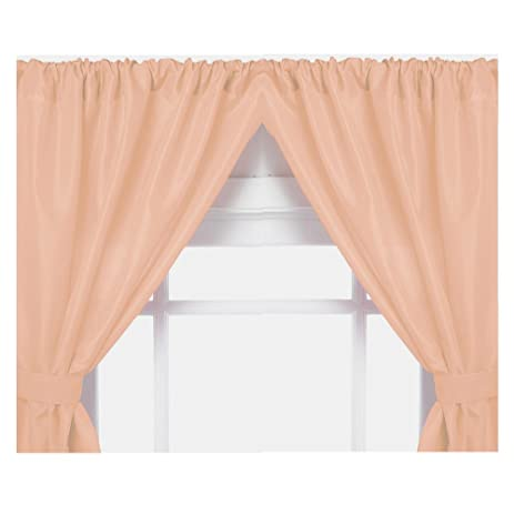 Carnation Home Fashions Vinyl Bathroom Window Curtain, Peach