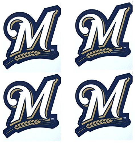(A&A Global Industries Set of 4 Milwaukee Brewers Team Logo Stickers 4 Individual Major League Baseball Official Helmet Emblems MLB Brew Crew Sticker Set)