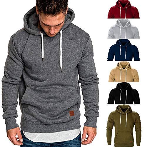 Foncé Hoodie Classique 3 Gris Pullover Chaud Sanfashion Homme Outwear Peluche Sweat Capuche Poche PW76txq8Hw