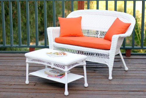 Jeco W00206-LCS016 Wicker Patio Love Seat and Coffee Table Set with Orange Cushion, White