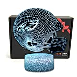 Deal Best NFL Team 3D Optical Illusion Smart 7 Colors LED Night Light Table Lamp with USB Power Cable (Philadelphia Eagles)