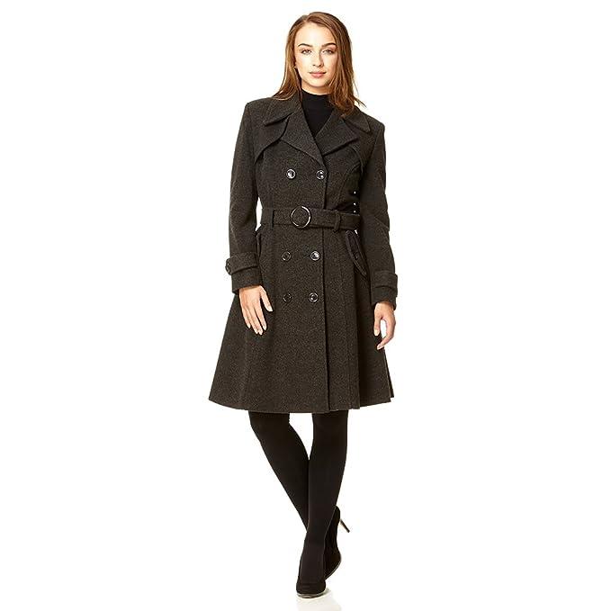 De La Creme - lana Womens   Cashmere invernale lungo cappotto con cintura   Amazon.it  Abbigliamento e8121fece5b2