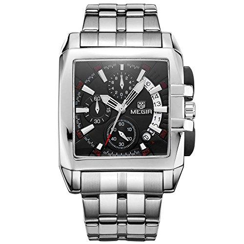 (MEGIR Men's Business Square Chronograph Quartz Wrist Watches Dress Stop Watch for Man 2018 Black)