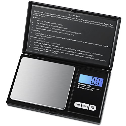 AMIR Digital Mini Scale, 200g 0.01g/ 0.001oz Pocket Jewelry Scale, Electronic Smart Scale with 7 Units, LCD Backlit Display, Tare Function, Auto Off, Stainless Steel & Slim Design (Battery Included)