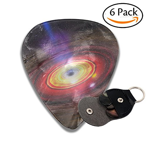 Janeither Celluloid Guitar Picks Black Hole Art Image Cool Stylish Guitar Accessories 6 Pack For Acoustic, Electric, Original And Bass Guitars