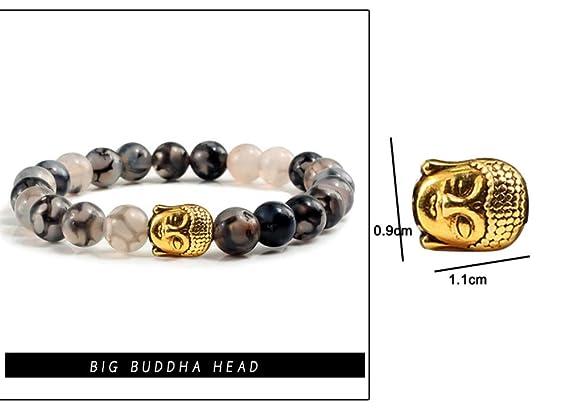 Pulseras Moda Natural Negro Dragon Stone Charm Pulseras De Cuentas De Buda para Las Mujeres Aleación Leopard Mancuernas Escudo Buddha Head Hombres Pulsera ...