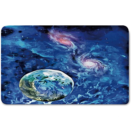 Memory Foam Bath Mat,Constellation,Exo Solar Planet Painting Style Vibrant Universe Awesome SpacePlush Wanderlust Bathroom Decor Mat Rug Carpet with Anti-Slip Backing,Turquoise Blue Light Pink by iPrint