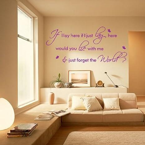 Pegatina Adhesivo Vinilo Decorativo Pared Letras Púrpura IF I LAY HERE 45*60cm: Amazon.es: Hogar