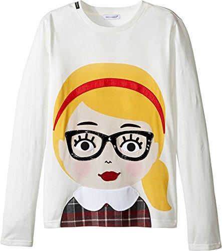 Dolce & Gabbana Kids Girls' Back to School Bimba Bionda Long Sleeve T-Shirt, White Print, 10 Big Kids by Dolce & Gabbana