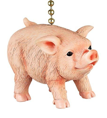 Clementine Designs Farmers Pig Decorative Ceiling Fan Light Dimensional Pull