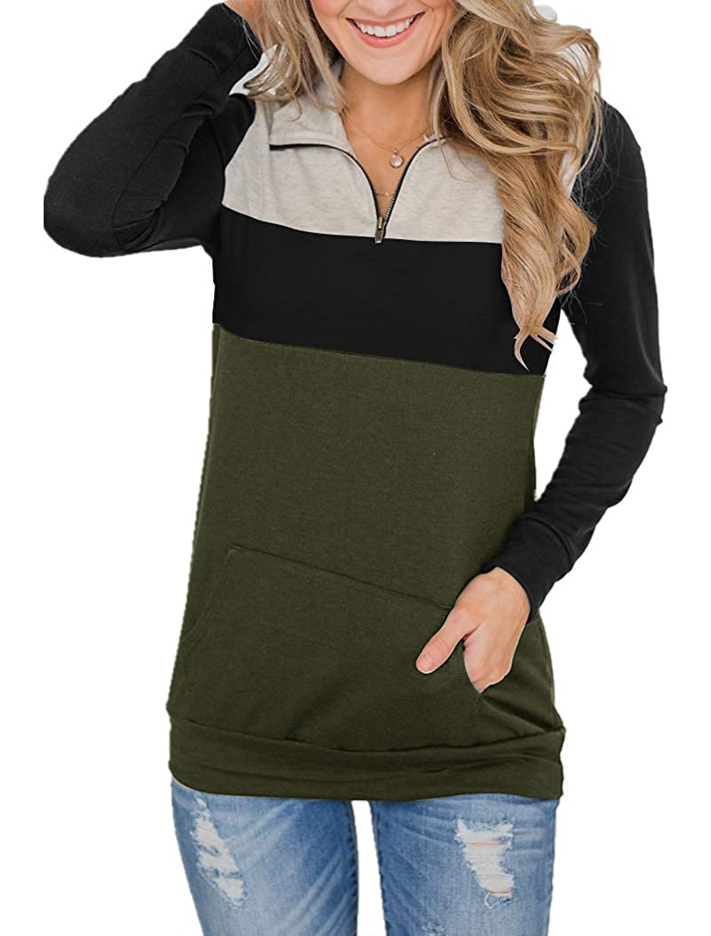 Uincloset Womens Casual Triple Color Block Long Sleeve 1//4 Zip Pullover Loose Lightweight Tops Sweatshirts with Pocket