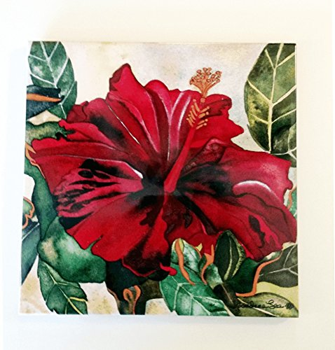 Red Hibiscus Ceramic Tile -