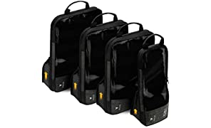 VASCO Compression Packing Cubes for Travel – Premium Set of 4 Luggage Organizer Bags (S+2M+L) Black
