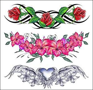 Amazoncom Flowers Lower Back Temporary Tattoo Lilly Tatoo