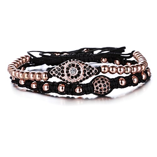 Rinhoo Unisex Handmade Black Rope Big Eye Beaded Wrap Bracelet Set of 2(Rose Gold)