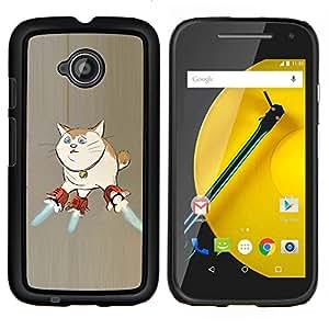 TECHCASE---Cubierta de la caja de protección para la piel dura ** Motorola Moto E ( 2nd Generation ) ** --Gato Nave Espacio de Arte Superpoderes del arte divertido
