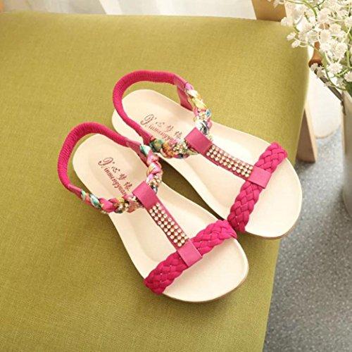 HLHN - Zapatillas de estar por casa de Piel Sintética para mujer Red