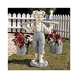 Girl with Flower Pots Statue Garden Decor Home Garden Decor Yard Art