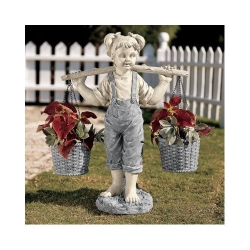 Girl with Flower Pots Statue Garden Decor Home Garden Decor Yard Art
