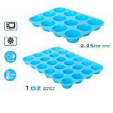 DAPOTO Cupcake Makers 12 Cavities Silicon Cake Pan Blue (12 Cup, Blue)
