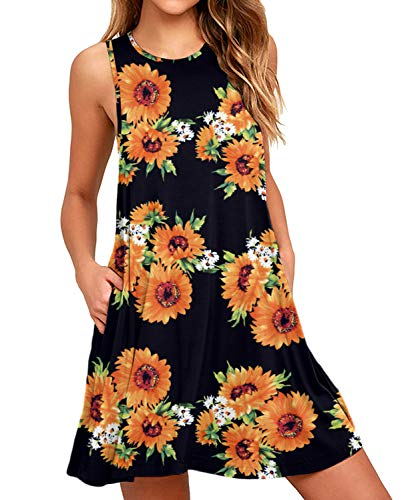 (HiMONE Women's Floral Print Sleeveless Pocket Casual Loose T-Shirt Dress Floral Sunflower Black)