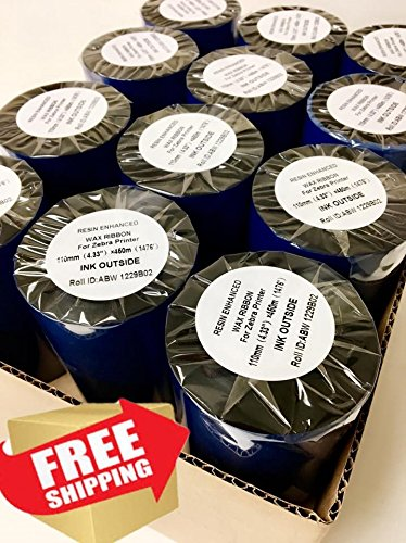 AVG Packaging Supplies 24-Rolls of Zebra Compatible Thermal Transfer Printer Ribbon 4.33