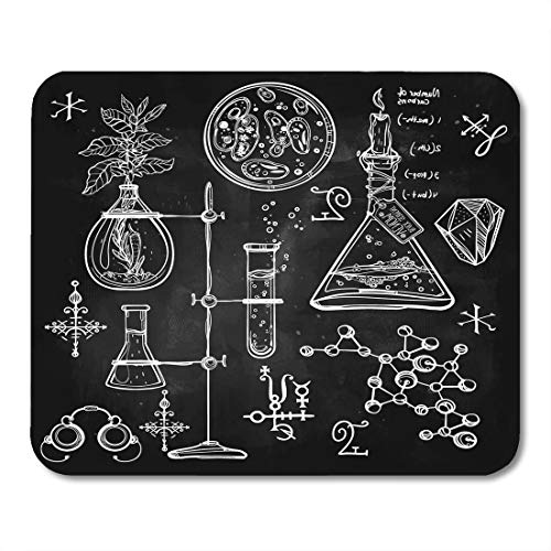 Boszina Mouse Pads Linear Laboratory Vintage Lab Science Objects Doodle Sketch Back to School Alchemy Occult Chemistry Mouse Pad for notebooks,Desktop Computers mats 9.5