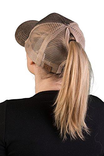 H-209-07 Messy Bun Ponytail Hat - Glitter (Macchiato)