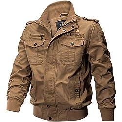 Black Friday Deals GOVOW Black Military Jacket Men Clothing Pocket Tactical Outwear Breathable Coat(US:14/CN:XXXXL,#Khaki)