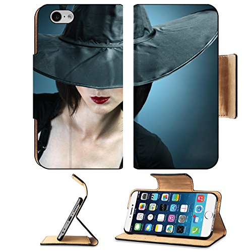 Luxlady Premium Apple iPhone 6 iPhone 6S Flip Pu Leather Wallet Case IMAGE ID: 34578837 Young woman in a witch costume her face covered with a hat