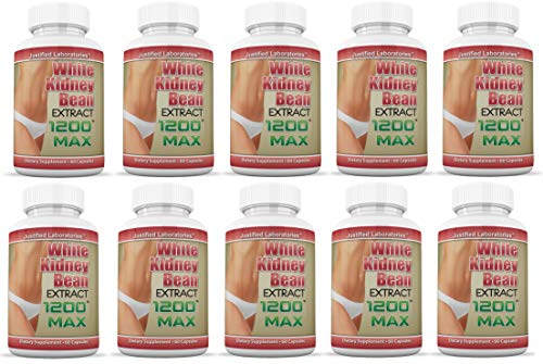 White Kidney Bean 1200 Max Weight Loss Carb Blocker Fat Burner 1200 MG 60 Capsules Per Bottle 10 Bottles by Justified Laboratories (Image #5)